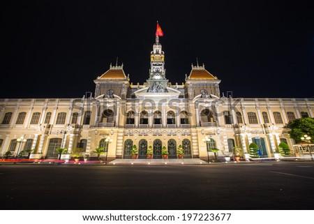Night scene at the City Hall of Ho Chi Minh in Ho Chi Minh City, Saigon, Vietnam. - stock photo