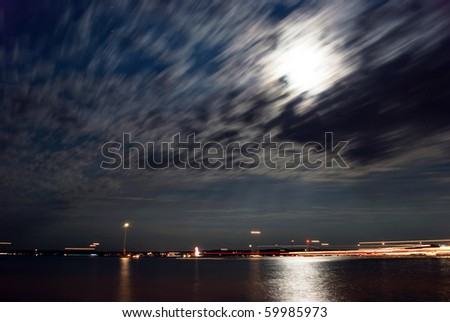 Night scene at the lake - stock photo
