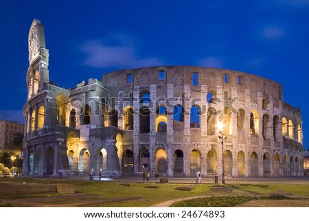 night scene from colosseum at roma, italy - stock photo