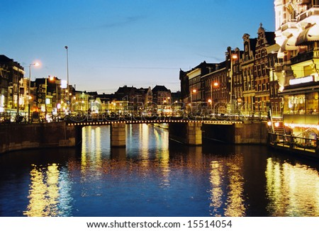 Night scene in one of central canals in Amsterdam - stock photo