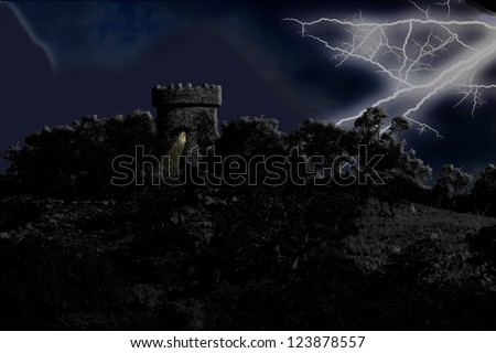 Night Scene Medieval Guard House in Thunder Storm - stock photo