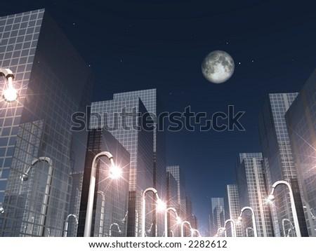 night scene of a modern city - stock photo