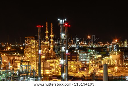 "Night scene of chemical plant , ""Maptaphut industrial"" , Eastern of Thailand - stock photo"
