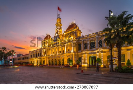 Night scene of Ho Chi Minh City Hall 2015. It was built in 1902-1908 in a French colonial style for the then city of Saigon - stock photo