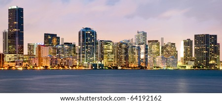 Night scene of Miami buildings - stock photo