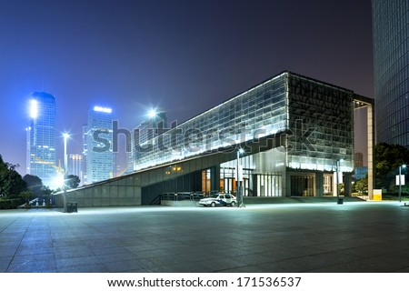 night scene of modern building - stock photo
