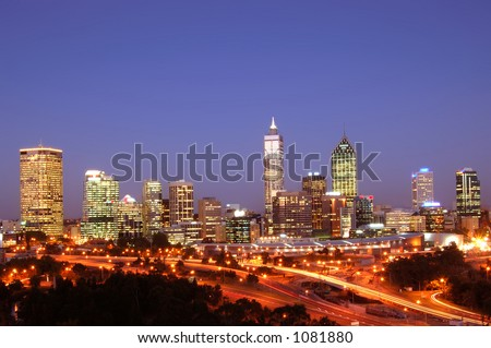 Night scene of perth city from kings park - stock photo