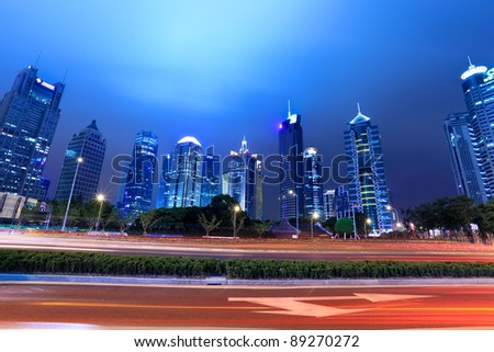 night scene of shanghai lujiazui financial district - stock photo
