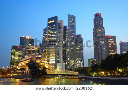 night scene of Singapore City at Singapore river. - stock photo