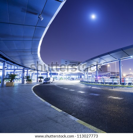 night scene of street - stock photo