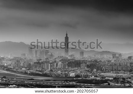 Night scene of Taipei city in monochrome - stock photo
