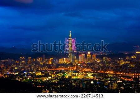 Night scene of Taipei city in new year's day - stock photo