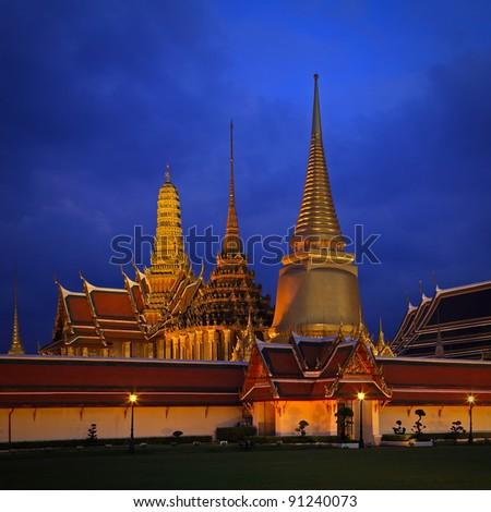 Night scene of Wat Phra Kaew (Temple of the Emerald Buddha) in Bangkok, Thailand - stock photo