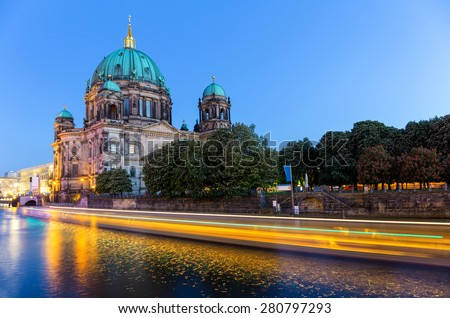 Night scene with Berlin Cathedral on Museum Island, Germany - stock photo