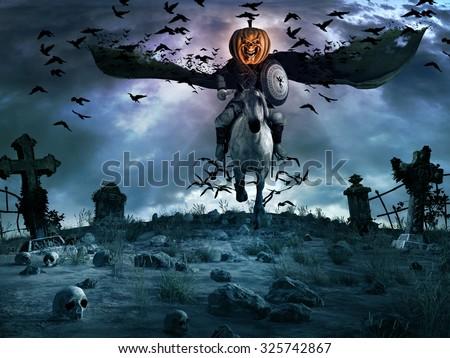 Night scene with creepy knight with pumpkin head, tombstones and skulls - stock photo
