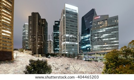 Night scenery of Roppongi Ark Hills in Tokyo downtown during sakura season with view of illuminated Japanese cherry blossoms under high rise skyscrapers ~Beautiful urban skyline of Tokyo in springtime - stock photo
