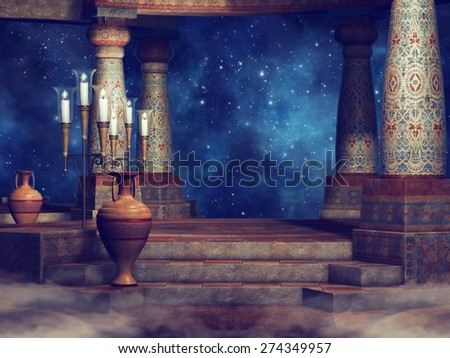 Night scenery with ancient columns, candles and vases - stock photo