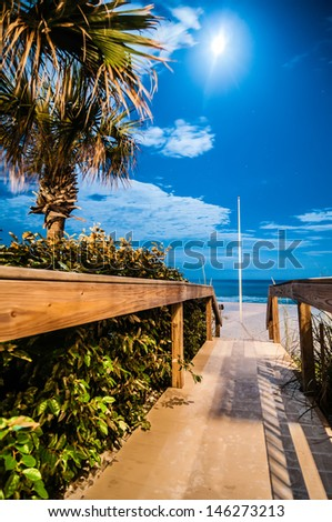night scenes at the florida beach with super moon brightness - stock photo