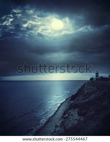 Night seascape - stock photo