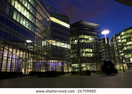 Night shot, city buildings - stock photo
