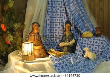 Night shot of a nativity scene - stock photo