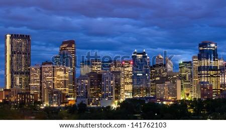 Night shot of Calgary downtown. - stock photo
