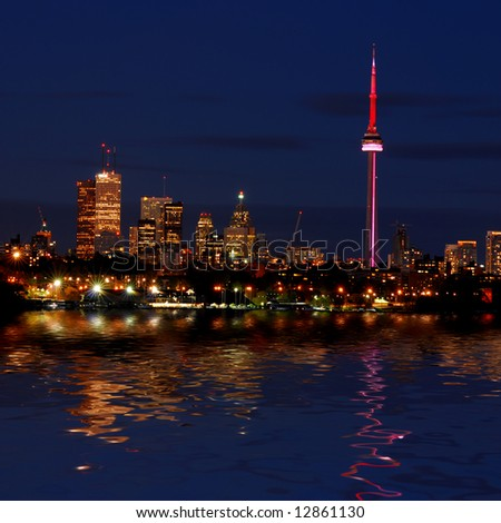 Night shot of Downtown - Toronto - Ontario - Canada - stock photo