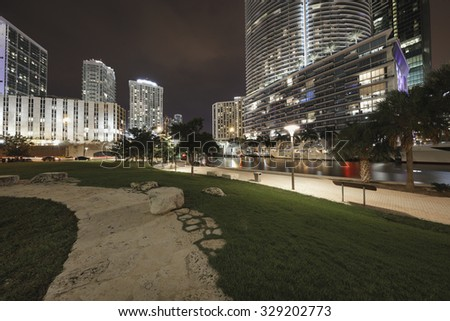 Night shot of Miami Circle at Brickell on the bay - stock photo