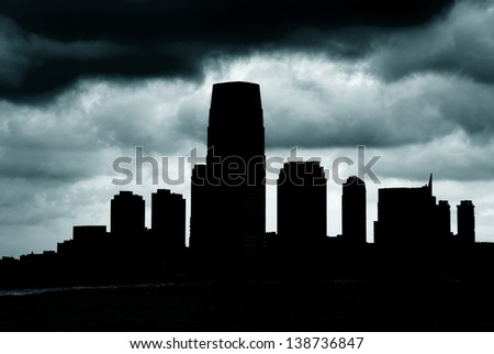 Night silhouette of the New Jersey - stock photo