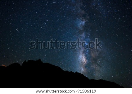 Night Sky, Bright Stars and Milky Way Galaxy - stock photo