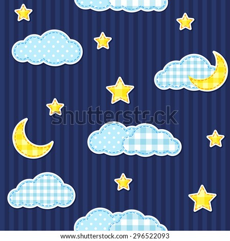 Night sky seamless pattern with moon and stars. Raster version - stock photo