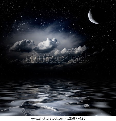 Night sky stars reflecting in sea - stock photo