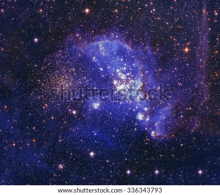 Night sky with clouds stars nebula background. Colorful fractal paint, lights on the subject of art, abstract, creativity. Planet and galaxy in a free space. Elements of this image furnished by NASA. - stock photo