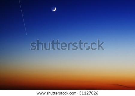 night sky with falling sickness Star - stock photo