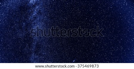 Night sky with lot of shiny stars, natural abstract astro horizontal background - stock photo