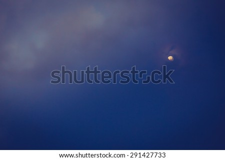 Night sky with moon  ( Filtered image processed vintage effect. ) - stock photo