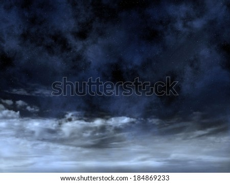 Night sky with stars above clouds - stock photo