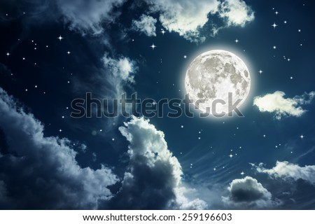 Night sky with stars and full moon background. Elements of this image furnished by NASA - stock photo