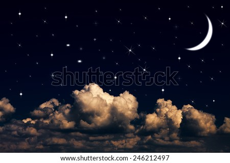 Night sky with stars and moon - stock photo