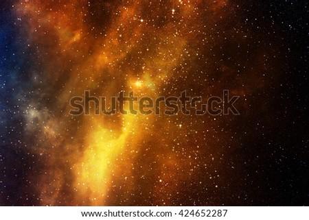 Night sky with stars and nebula  - stock photo