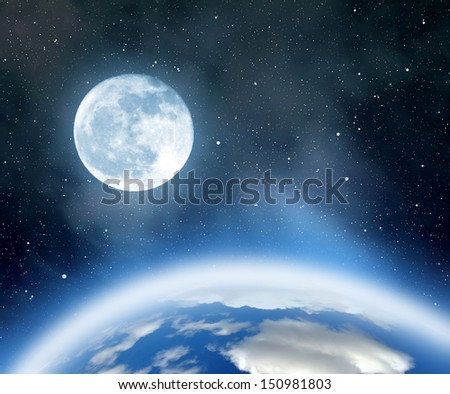 "Night sky with stars,nebula,earth and moon. ""Elements of this image furnished by NASA"". - stock photo"