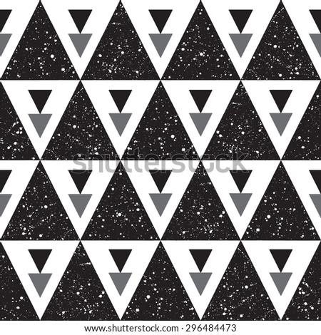 Night sky with stars triangles seamless pattern. Black and white cosmic geometrical background. Monochrome hand drawn splash texture. White spots on black. Raster version. - stock photo