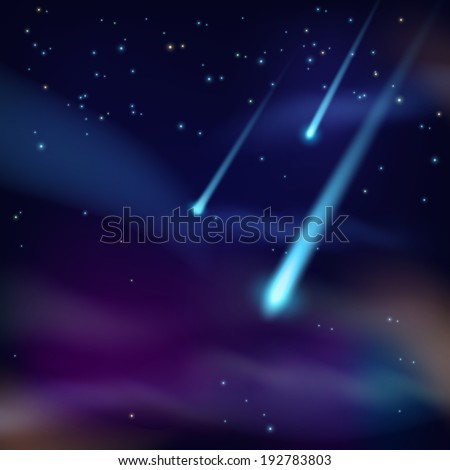 Night sky with twinkling stars and flying comets on dark background  illustration - stock photo