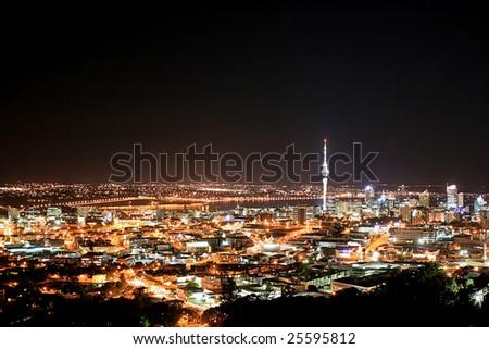 Night Skyline of Auckland - stock photo