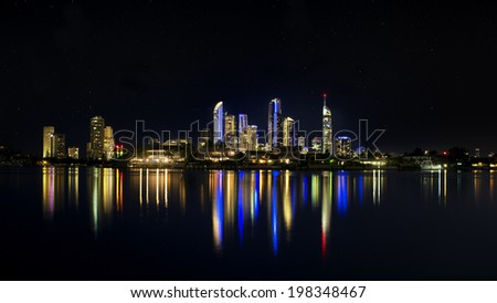 Night Skyline with lights after sunset, Surfers Paradise, Gold Coast, Australia - stock photo