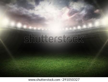 Night, stadium, field. - stock photo