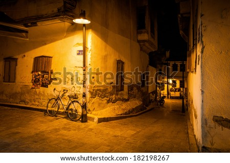 night street in Antalya Kaleici - stock photo