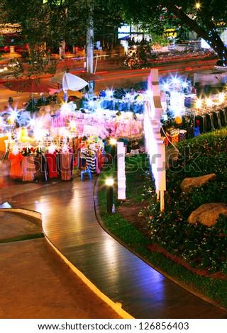 Night street market - stock photo