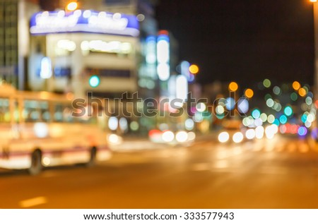 night street view in blur and de-focus - stock photo