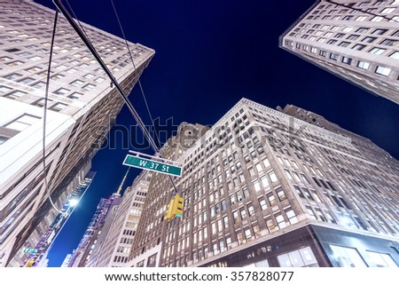 Night street view of Midtown Manhattan, New York. - stock photo